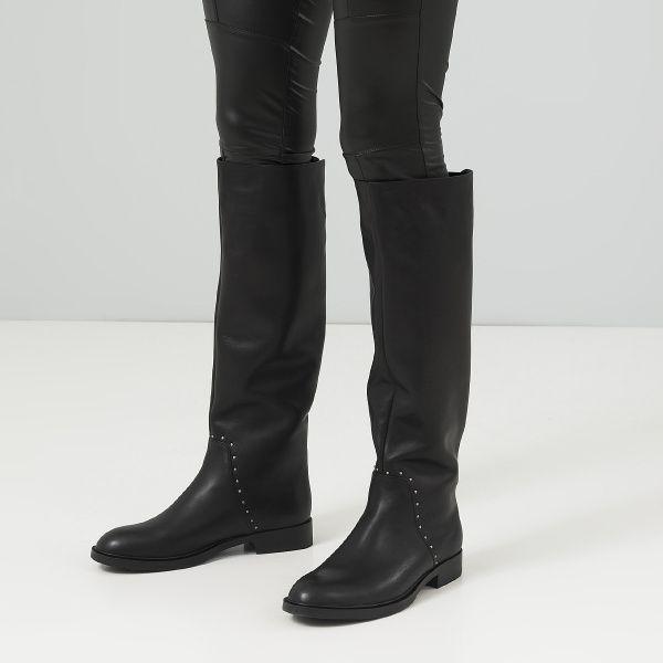 Сапоги женские Сапоги 13326846040-1 черная кожа. Еврозима 13326846040-1 модные, 2017