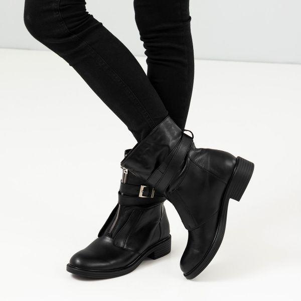 Ботинки женские Ботинки 143797620 черная кожа/замша. Байка 143797620 фото, купить, 2017