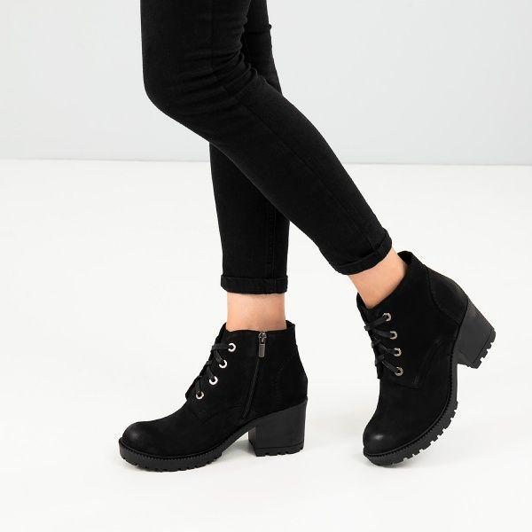 Ботинки женские Ботинки 1514-230 черный нубук. Шерсть 1514-230 обувь бренда, 2017