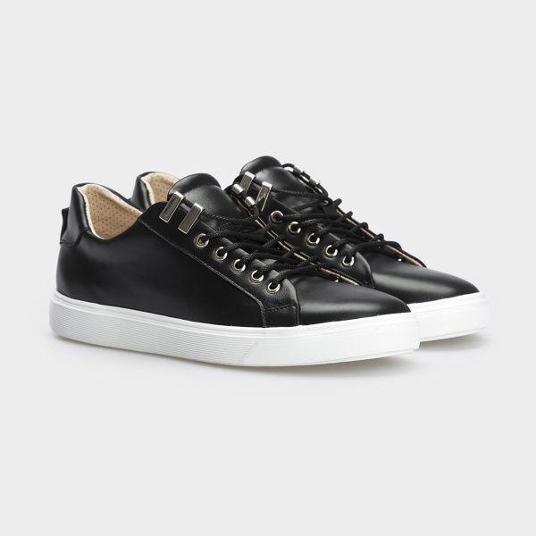 Кеды для женщин Кеды 153-2-010 черная кожа 153-2-010 брендовая обувь, 2017