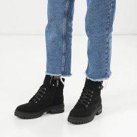 Ботинки женские Ботинки 1538-1-020 чорна замша. Байка 1538-1-020 купить в Украине, 2017
