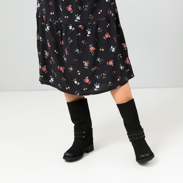 Сапоги для женщин Сапоги 1539-220 черный нубук. Байка 1539-220 обувь бренда, 2017