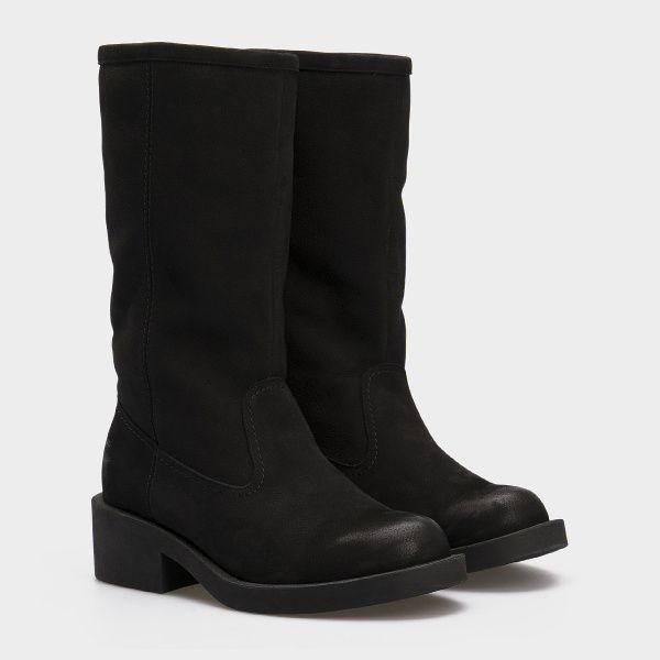 Сапоги женские Сапоги 15763253-230 черный нубук. Шерсть 15763253-230 , 2017