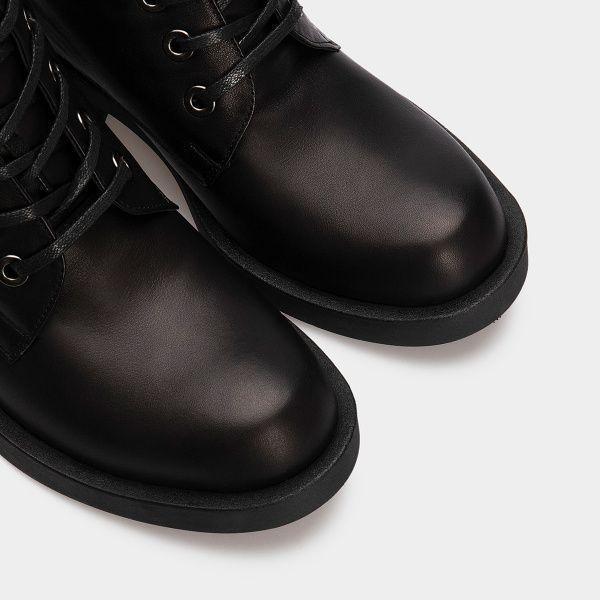 Ботинки для женщин Ботинки 1712-030 чорна шкіра. Вовна 1712-030 обувь бренда, 2017