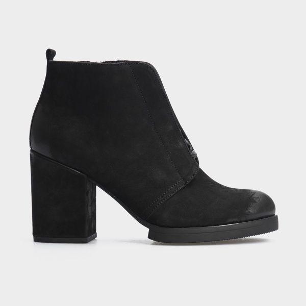 Ботинки женские Ботильоны 17218120-7 черный нубук. Байка 17218120-7 обувь бренда, 2017
