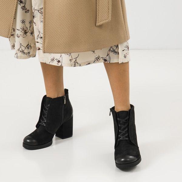 Ботинки женские Ботильоны 17218120-7 черный нубук. Байка 17218120-7 смотреть, 2017