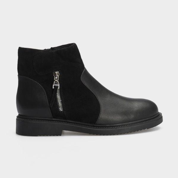Ботинки женские Ботинки 18-3264-5 черная кожа/замша. Байка 18-3264-5 , 2017