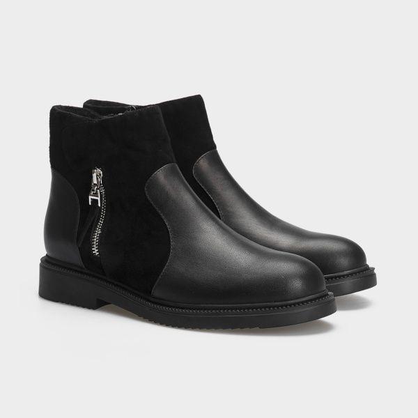 Ботинки женские Ботинки 18-3264-5 черная кожа/замша. Байка 18-3264-5 выбрать, 2017