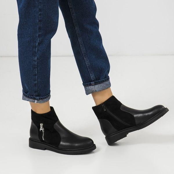 Ботинки женские Ботинки 18-3264-5 черная кожа/замша. Байка 18-3264-5 Заказать, 2017