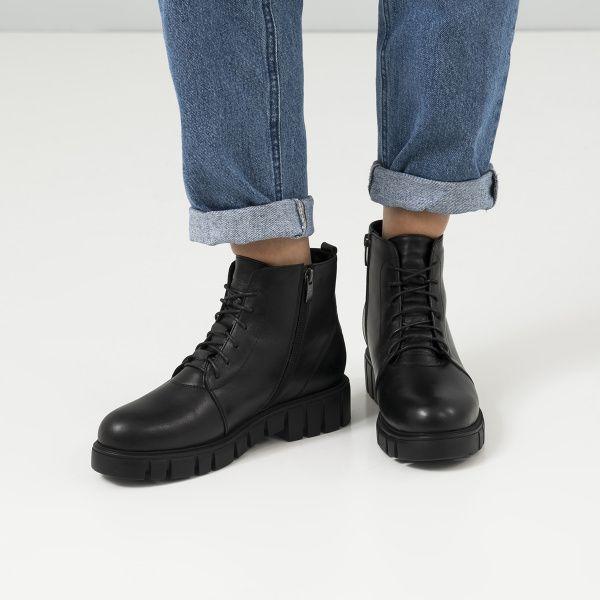 Ботинки женские Ботинки 18400130 черная кожа. Шерсть 18400130 бесплатная доставка, 2017
