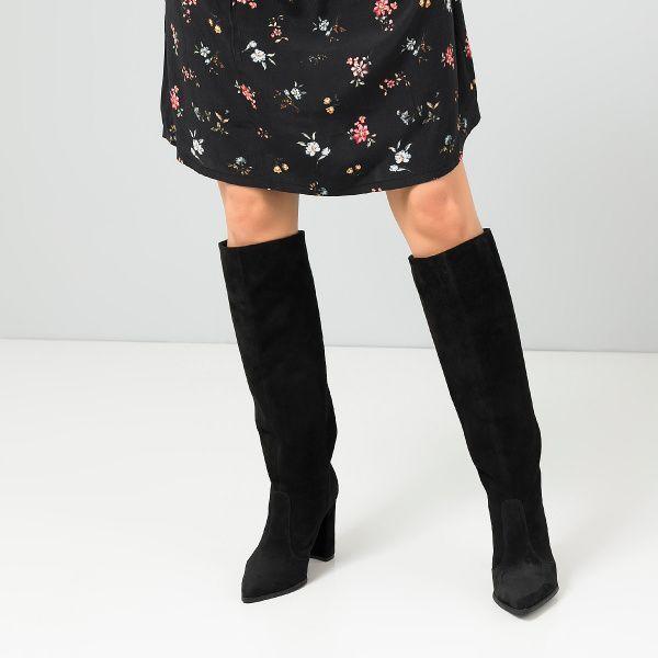 Сапоги для женщин Сапоги 1923-120 черная замша. Байка 1923-120 обувь бренда, 2017