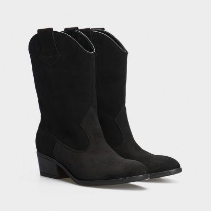 Сапоги женские Ботинки (Козак) 1945-010chr черная кожа. Байка 1945-010chr модные, 2017