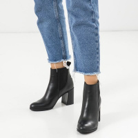 для женщин Ботильоны 2019 черная кожа. Байка 2019 модная обувь, 2017