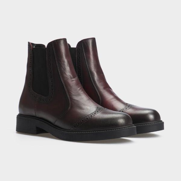 Ботинки женские Челсі 27741-48 бордовая кожа. Байка 27741-48 брендовая обувь, 2017
