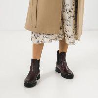 Ботинки женские Челсі 27741-48 бордовая кожа. Байка 27741-48 цена, 2017