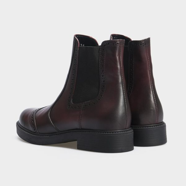 Ботинки женские Челсі 27741-48 бордовая кожа. Байка 27741-48 примерка, 2017