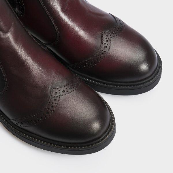 Ботинки женские Челсі 27741-48 бордовая кожа. Байка 27741-48 выбрать, 2017