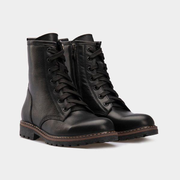 Ботинки женские Ботинки 2916-030 черная кожа. Хутро 2916-030 брендовая обувь, 2017