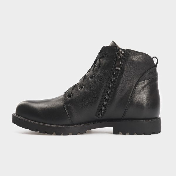Ботинки женские Ботинки 3353-030 черная кожа. Хутро 3353-030 брендовая обувь, 2017