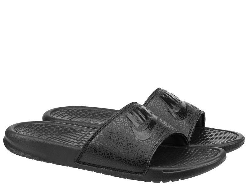 "Тапки для мужчин Nike Benassi ""Just Do It."" Black Black 343880-001 модные, 2017"