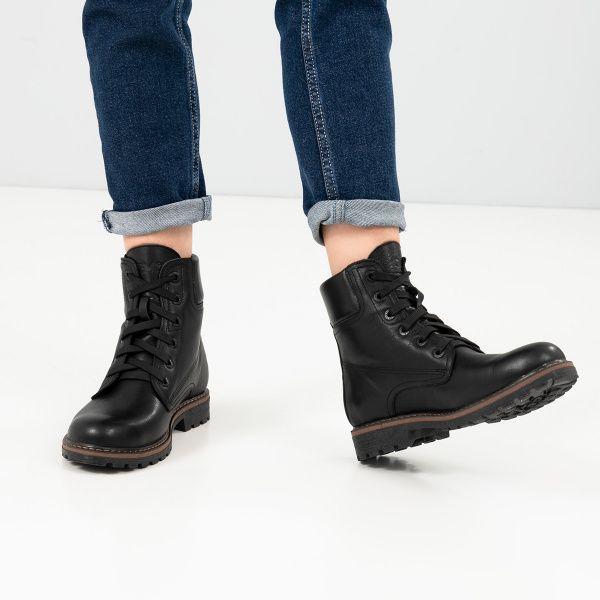 Ботинки женские Ботинки 385-030 черная кожа. Хутро 385-030 примерка, 2017