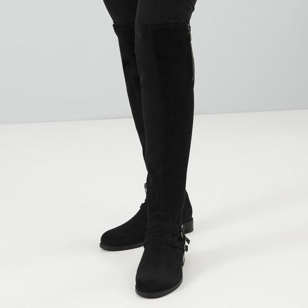 Сапоги для женщин Сапоги 401761520 чорная кожа 401761520 брендовая обувь, 2017