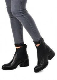 для женщин 425701 Черные кожаные ботинки с тиснением Modus Vivendi 425701 продажа, 2017
