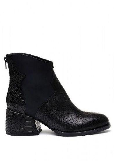 для женщин 425701 Черные кожаные ботинки с тиснением Modus Vivendi 425701 фото, купить, 2017