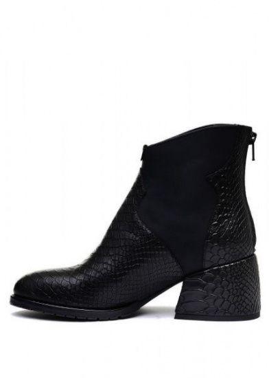 для женщин 425701 Черные кожаные ботинки с тиснением Modus Vivendi 425701 модные, 2017