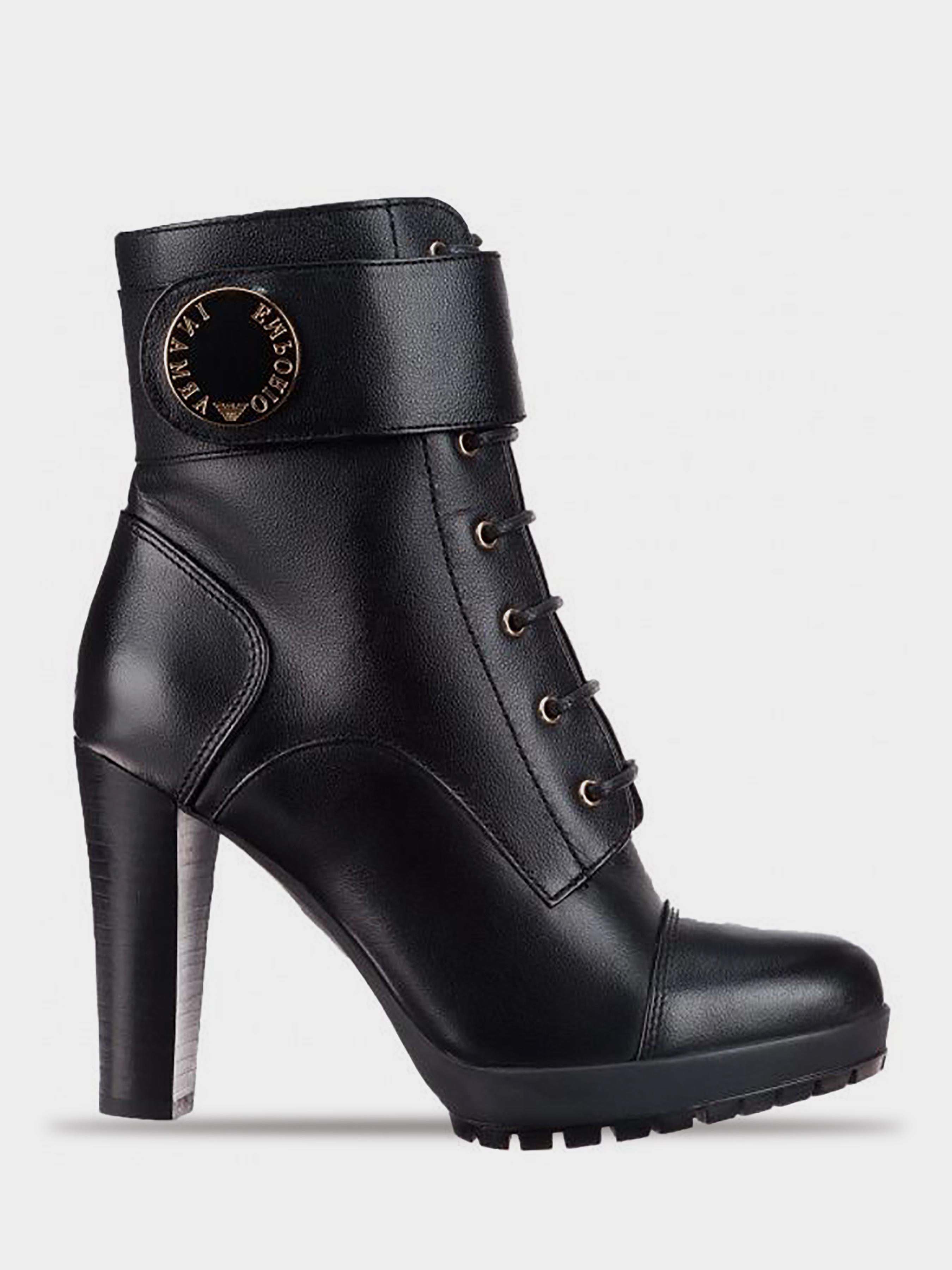 Купить Ботинки для женщин Emporio Armani WOMAN LEATHER BOOT 5R77, Черный