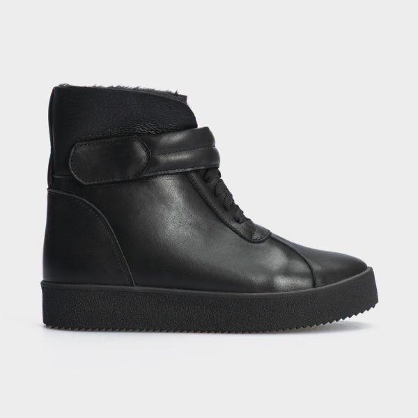 Ботинки женские Ботинки 618-010 черная кожа. Хутро 618-010 продажа, 2017