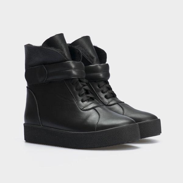 Ботинки женские Ботинки 618-010 черная кожа. Хутро 618-010 размерная сетка обуви, 2017