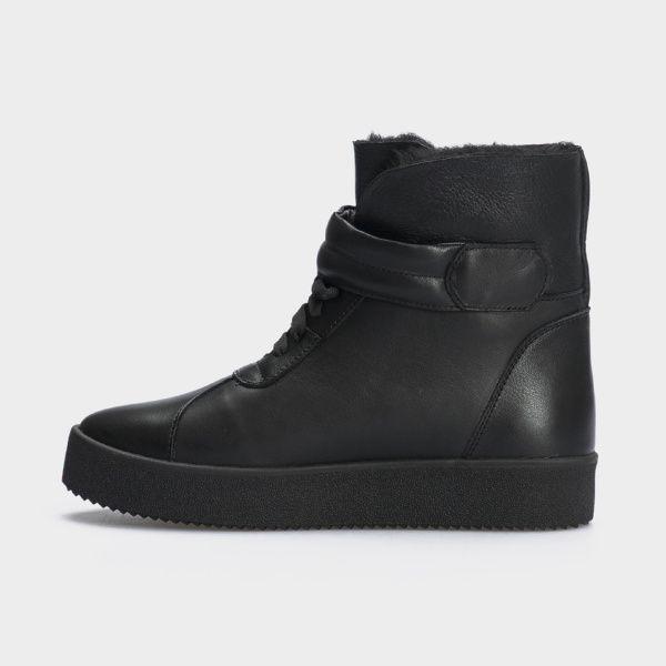 Ботинки женские Ботинки 618-010 черная кожа. Хутро 618-010 брендовая обувь, 2017
