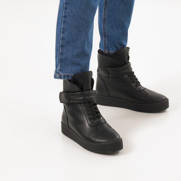 Ботинки женские Ботинки 618-010 черная кожа. Хутро 618-010 примерка, 2017