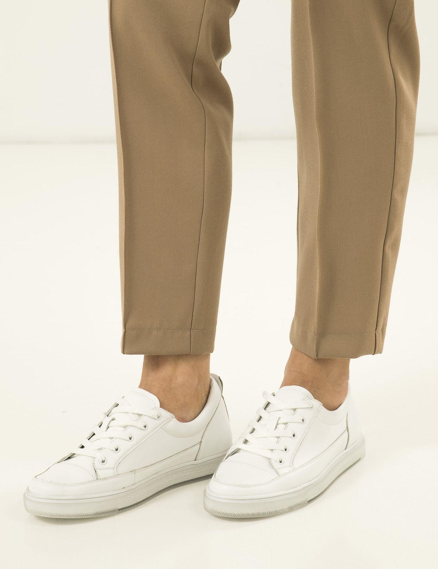 Кроссовки женские Кеды 73108180-1 белая кожа 73108180-1 размерная сетка обуви, 2017