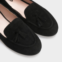 Балетки женские Слиперы 7740-110 черная замша 7740-110chr брендовая обувь, 2017