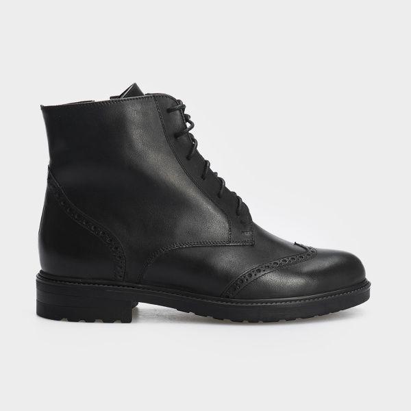 Ботинки женские Ботинки 87900231 черная кожа. Шерсть 87900231 брендовая обувь, 2017