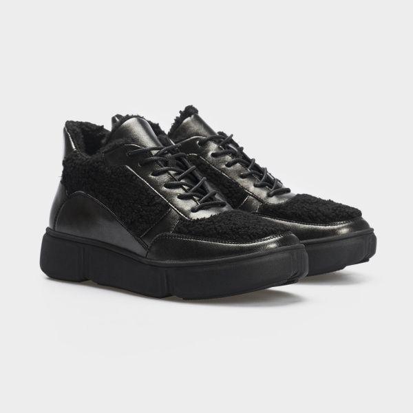 Ботинки женские Ботинки 896827073 черная кожа/текстиль. Шерсть 896827073 Заказать, 2017