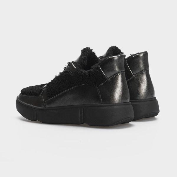 Ботинки женские Ботинки 896827073 черная кожа/текстиль. Шерсть 896827073 фото, купить, 2017