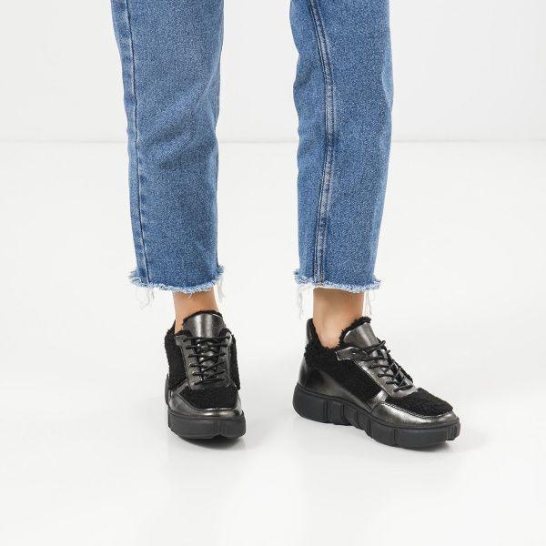 Ботинки женские Ботинки 896827073 черная кожа/текстиль. Шерсть 896827073 смотреть, 2017