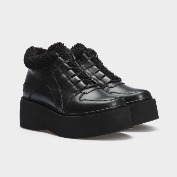 Ботинки женские Ботинки 897827120 черная кожа. Байка 897827120 примерка, 2017