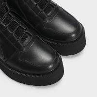 Ботинки женские Ботинки 897827120 черная кожа. Байка 897827120 бесплатная доставка, 2017