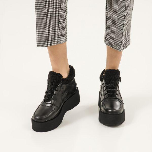 Ботинки женские Ботинки 897827120 черная кожа. Байка 897827120 обувь бренда, 2017
