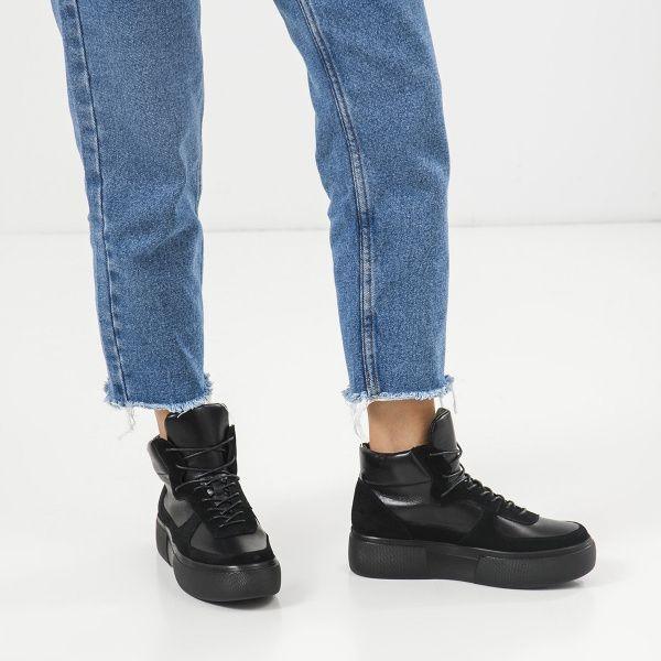 Ботинки женские Ботинки 898829520 черная кожа/замша. Байка 898829520 Заказать, 2017