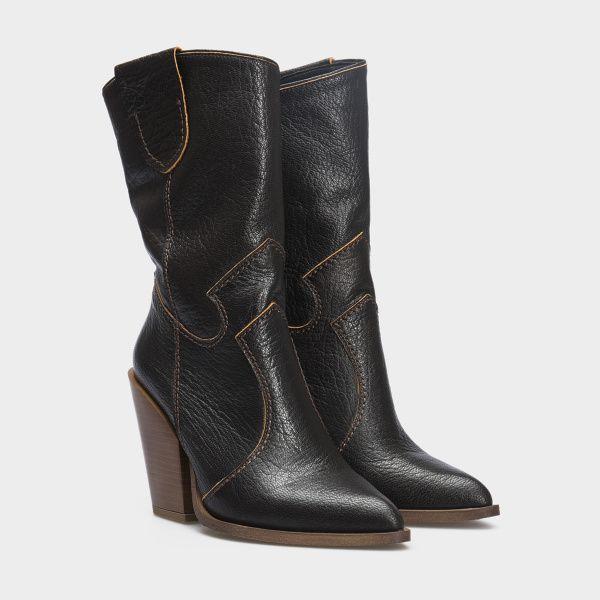 Сапоги женские Сапоги 90134-020chr чорна шкіра. Байка 90134-020chr обувь бренда, 2017