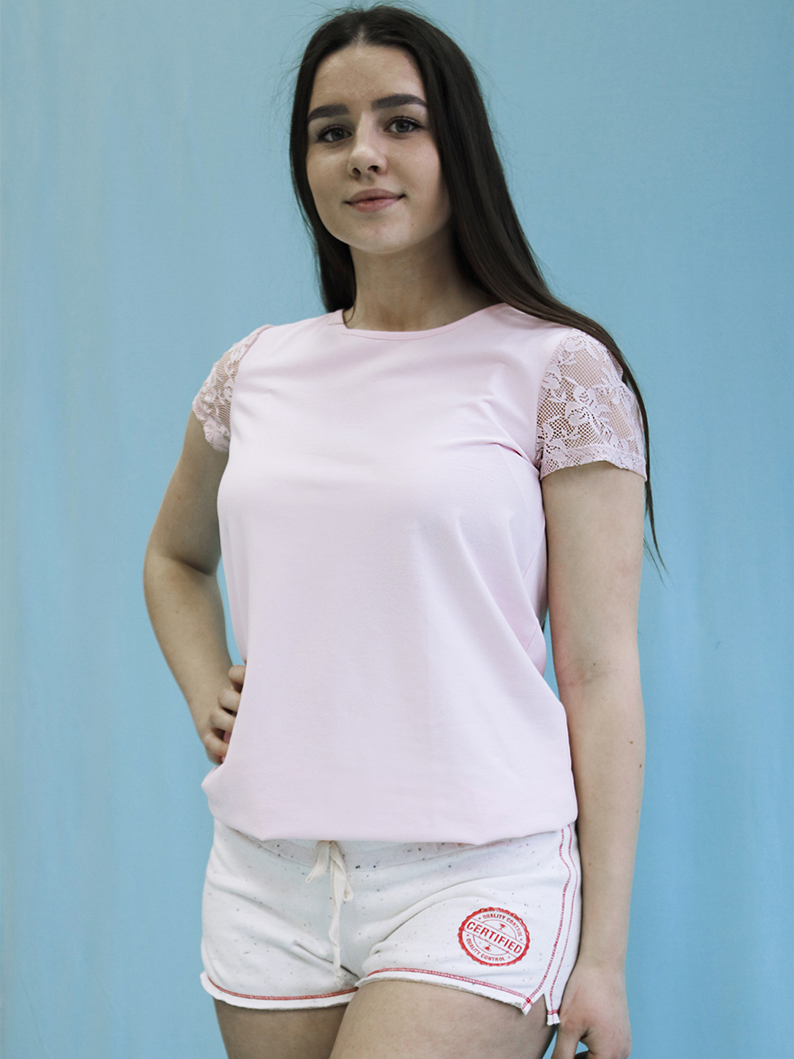 Купить Футболка женские модель 0144 Жіноча футболка, Effetto, Розовый