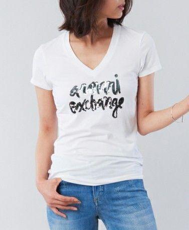 Футболка женские Armani Exchange QZ657 брендовая одежда, 2017