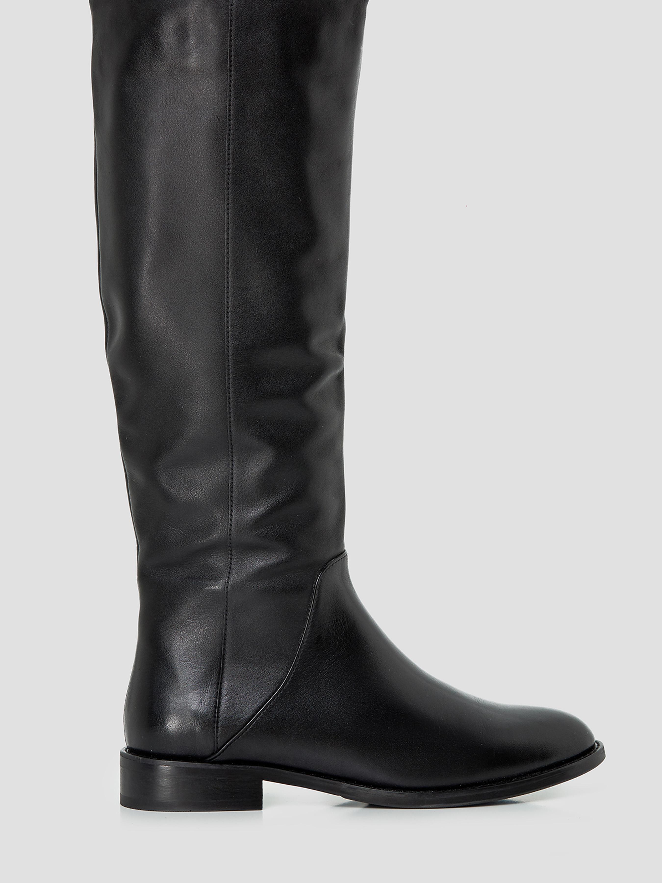 Купить Сапоги женские Жокейские сапоги из кожи черного цвета SP003KJN1BK90, Natali Bolgar, Черный
