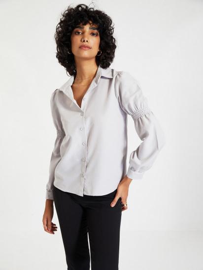 Сорочка з довгим рукавом Trendyol модель TWOAW22GO0141/Gri — фото - INTERTOP