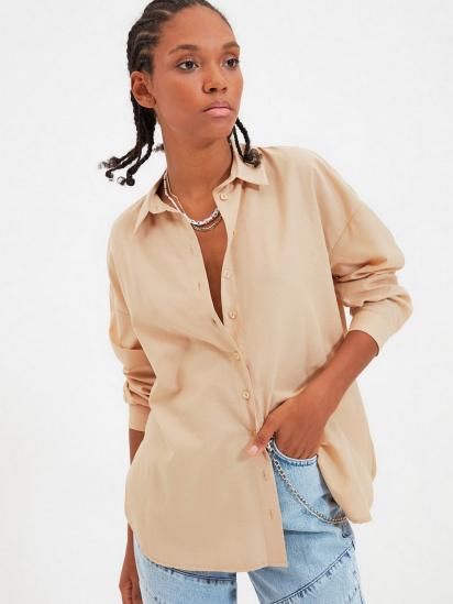 Сорочка з довгим рукавом Trendyol модель TWOAW22GO0147/Camel — фото 4 - INTERTOP
